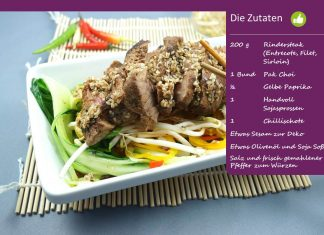 Steak auf Asia-Salat