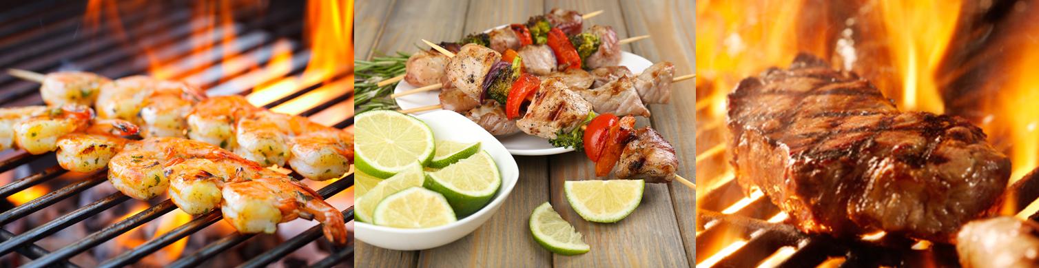Fleisch und Fisch auf dem Grill