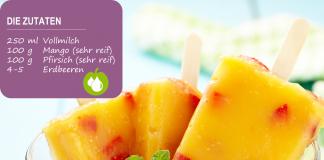 Mango-Pfirsich-Eis am Stiel