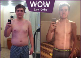 Gary lächelt in den Spiegel nachdem er mit BodyChange abgenommen hat
