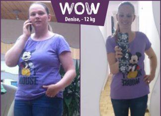 Denise im Micky Maus T-Shirt im vorher nachher Vergleich
