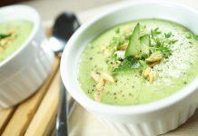 Kalte Avocado Erbsen Suppe