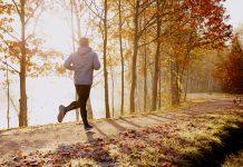 Mann joggt durch den Park im Herbst