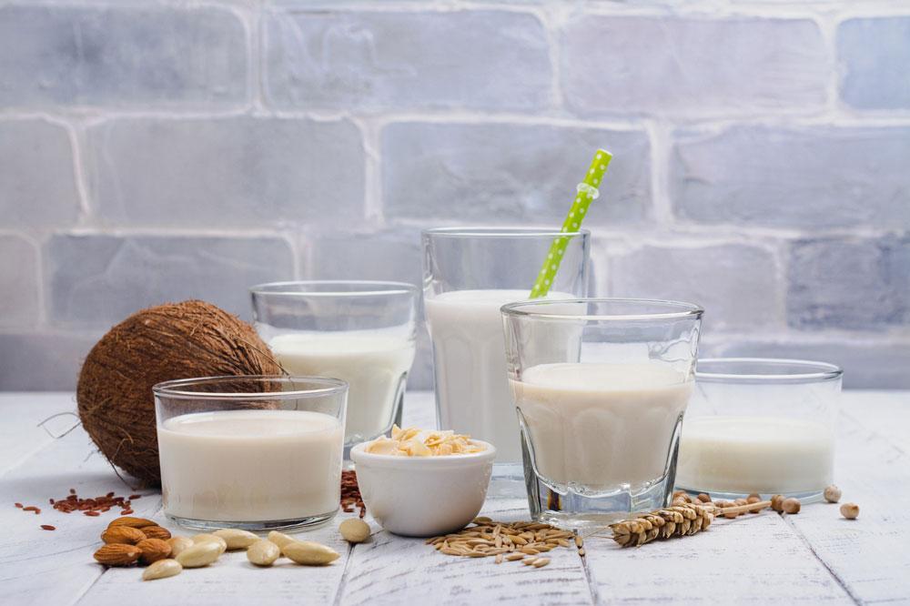 Gesunde, vegane Milchalternativen wie Mandel-, Reis-, Kokos-, und Hafermilch